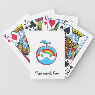 Unicornio en el arco iris en manzana cartas de juego