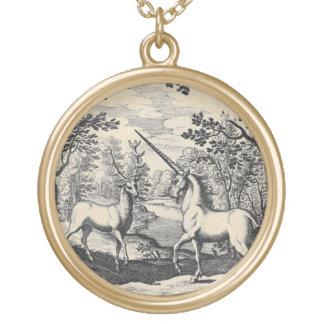 Unicornio en el bosque colgante redondo