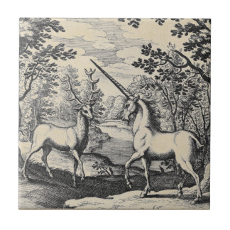 Unicornio en el bosque tejas  ceramicas