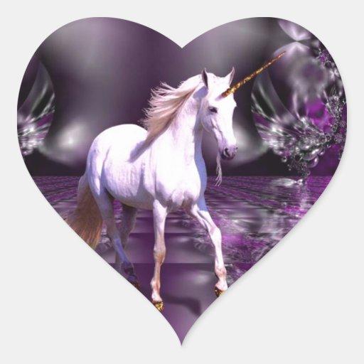 Unicornio en fractal púrpura pegatinas de corazon