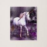 Unicornio en fractal púrpura puzzles