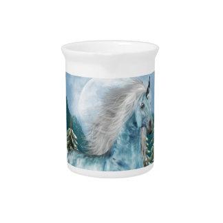 Unicornio en jarra del claro de luna
