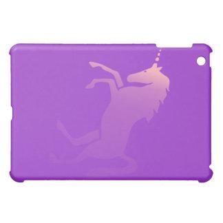 Unicornio en la caja púrpura del iPad de la mota