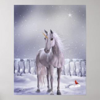 Unicornio en la impresión del poster de la nieve