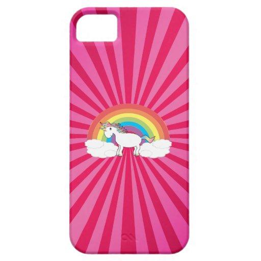 Unicornio en las nubes en resplandor solar rosado iPhone 5 Case-Mate cárcasa