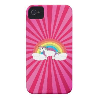 Unicornio en las nubes en resplandor solar rosado Case-Mate iPhone 4 funda