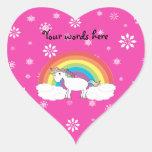 Unicornio en los copos de nieve rosados de las pegatina de corazon personalizadas