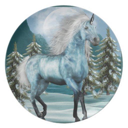 Unicornio en placa del claro de luna platos para fiestas