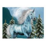 Unicornio en postal del claro de luna