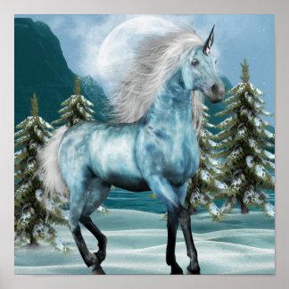 Unicornio en poster del claro de luna