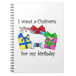 Unicornio en presentes de cumpleaños libros de apuntes