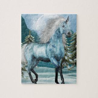 Unicornio en rompecabezas del claro de luna