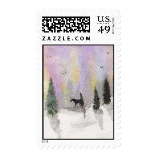 Unicornio en sellos de la nieve