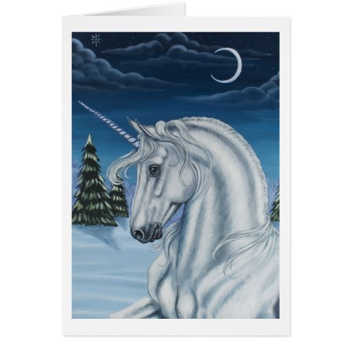 Unicornio en tarjeta de la paz del invierno