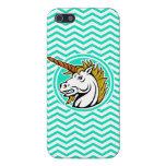 Unicornio enojado; Aguamarina Chevron verde iPhone 5 Coberturas