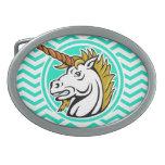 Unicornio enojado; Aguamarina Chevron verde Hebilla De Cinturon Oval