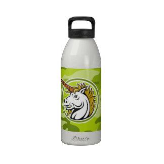 Unicornio enojado; camo verde claro, camuflaje botella de beber