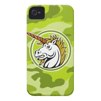 Unicornio enojado; camo verde claro, camuflaje iPhone 4 Case-Mate protector