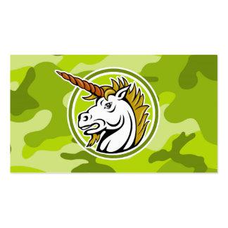 Unicornio enojado; camo verde claro, camuflaje plantilla de tarjeta personal