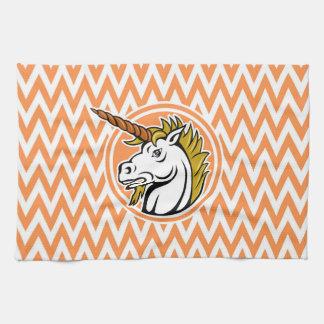 Unicornio enojado; Rayas anaranjadas y blancas de Toalla De Mano