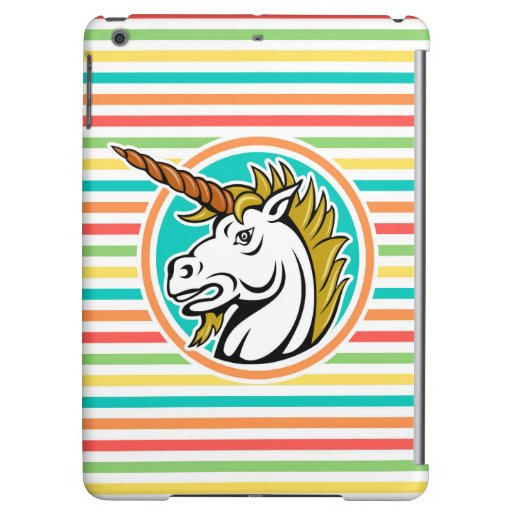 Unicornio enojado, rayas brillantes del arco iris