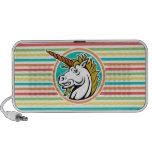 Unicornio enojado, rayas brillantes del arco iris altavoz de viaje