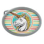 Unicornio enojado, rayas brillantes del arco iris hebillas cinturon