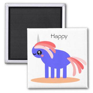 Unicornio extraño pero feliz imán cuadrado
