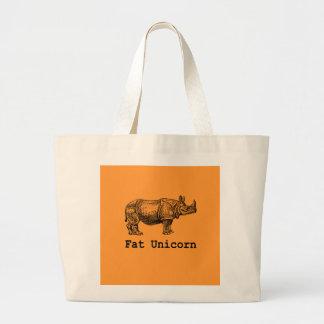 Unicornio gordo bolsa tela grande