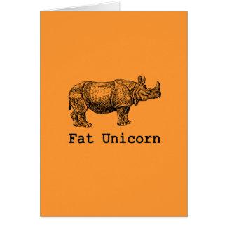 Unicornio gordo tarjeta de felicitación