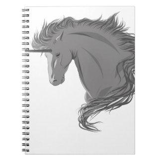 Unicornio gris libro de apuntes con espiral