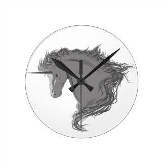 Unicornio gris relojes de pared