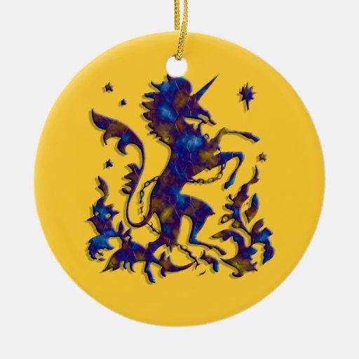Unicornio Herald: Lapis en el oro viejo llano Adorno Navideño Redondo De Cerámica