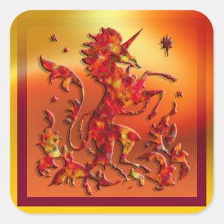 Unicornio heráldico: Llamas Pegatina Cuadrada