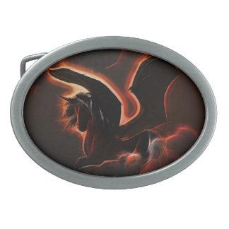 Unicornio hermoso hebilla de cinturón oval