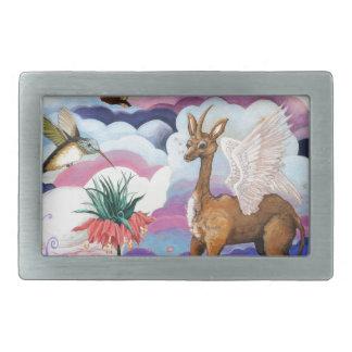 """Unicornio imperial y colibrí de """"corona"""" hebillas de cinturón rectangulares"""