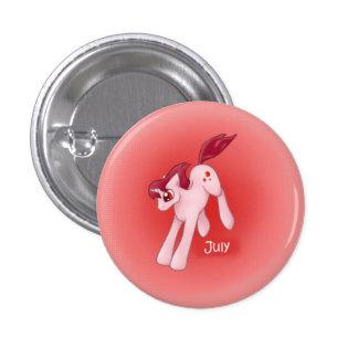 Unicornio julio/rubí de Birthstone Pin Redondo De 1 Pulgada