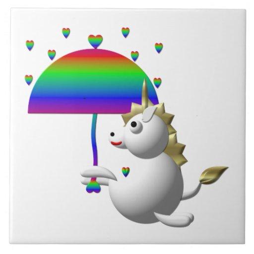 Unicornio lindo con un paraguas azulejos ceramicos