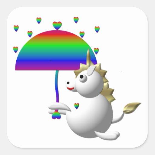 Unicornio lindo con un paraguas pegatina cuadradas