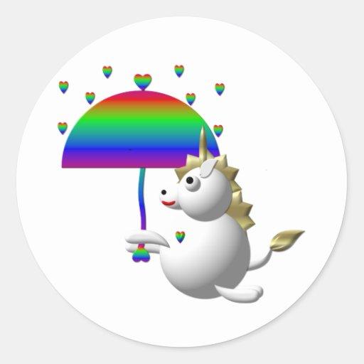 Unicornio lindo con un paraguas etiquetas redondas