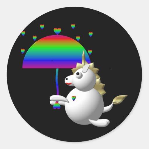 Unicornio lindo con un paraguas pegatina redonda