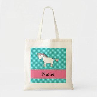 Unicornio lindo conocido personalizado bolsa tela barata