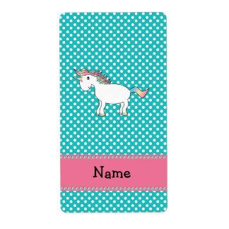 Unicornio lindo conocido personalizado etiquetas de envío