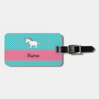 Unicornio lindo conocido personalizado etiqueta de equipaje