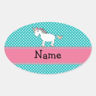 Unicornio lindo conocido personalizado pegatina ovalada