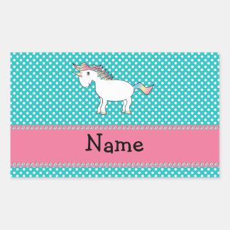 Unicornio lindo conocido personalizado pegatina rectangular