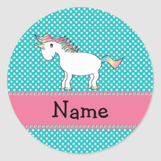 Unicornio lindo conocido personalizado pegatina redonda