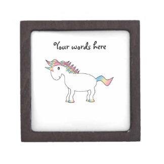 Unicornio lindo del arco iris cajas de recuerdo de calidad