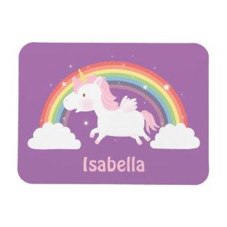 Unicornio lindo del vuelo e imán del arco iris