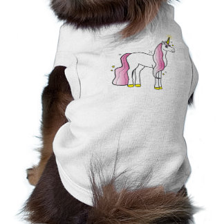 Unicornio mágico con la melena y la cola rosadas camisetas de perro